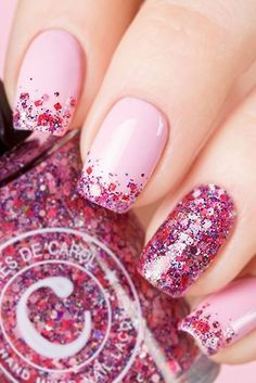 Nail art is a very popular trend these days and every woman you meet seems to have beautiful nails. It used to be that women would just go get a manicure or pedicure to get their nails trimmed and shaped with just a few coats of plain nail polish. Cute Pink Nails, Pink Nail Art, Blue Nail, Bright Pink Nails With Glitter, Bright Gel Nails, Pink Tip Nails, Pink Shellac, Nagel Stamping, Valentine Nail Art