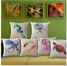 Pillows Sea Turtle Octopus Print Cotton Linen Pillow Case Cushion Cover Home Soft Decor & Garden Diy Pillows, Linen Pillows, Throw Pillow Cases, Throw Pillows, 233, Watercolor Sea, Bed Linen Design, Printed Cushions, Decorative Pillow Covers