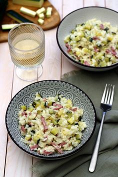 Creamy risotto with zucchini and bacon - Amandine Cooking - Repas noel - Salad Recipes Healthy Cooking Recipes For Dinner, Vegetarian Meals For Kids, Shrimp Recipes For Dinner, Vegetarian Cooking, Easy Cooking, Vegetarian Nuggets, Healthy Cooking, Vegan Zucchini Recipes, Healthy Recipes