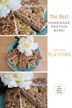 The Best Homemade Protein Bars! Made with all natural, whole, organic ingredients! A healthy alternative to a traditional protein/granola bar! Cookie Dough or Chocolate Peanut Butter Flavored!
