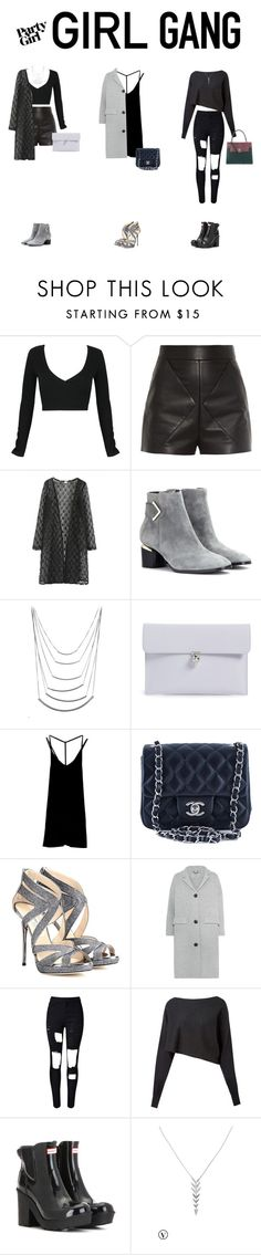 """""""Black Widows"""" by amlhrs ❤ liked on Polyvore featuring WithChic, Balenciaga, Nicholas Kirkwood, Alexander McQueen, RVCA, Chanel, Jimmy Choo, Burberry, Crea Concept and Hunter"""