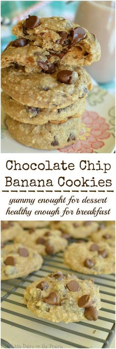 Everything you love about in banana bread and chocolate chip cookies in one bite! Healthy enough for breakfast!