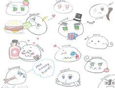 Hetalia Mochi sketches