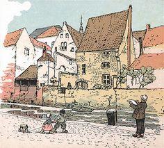 Mechelen. De Dijle. Zicht op een oud huis in de Schipstraat (illustratie op een oude ansichtkaart)