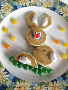 Easter Bunny Pancakes for Kids on Easter Morning from B-InspiredMama.com