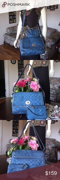 "Coach Hampton  shoulder/CrossBody with wristlet F13972...Coach Creed  Retails for  $298 Color: Ocean blue with silvertone hardware  Measurements: 11.5"" W ( left to right in middle  ) x 8.5""H (top to bottom)x 2.75"" D, adjustable strap you can convert from a shoulder bag to a crossbody Silver tone hardware Lined in dark brown twill fabric 1 large slip pocket under turnkey closure flap 1 zippered pocket with Coach Creed 2 slip pockets , scratches on the hardware other  than that in great…"