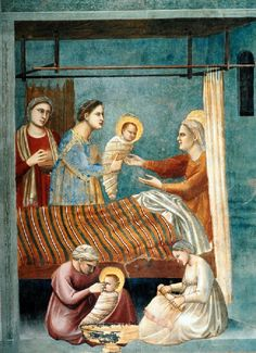 di Bondone Fresco in Cappella degli Scrovegni (Padua) No. 7 Scenes from the Life of the Virgin: The Birth of the Virgin (detail),Fresco, Cappella Scrovegni (Arena Chapel), Padua Italian Hair, Web Gallery Of Art, In His Time, Late Middle Ages, Italian Painters, European Paintings, 14th Century, The Life, Image Collection