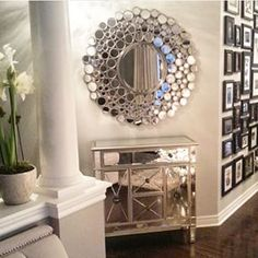 Discover thousands of images about Sunburst mirrors, mirrored furniture, wall collage frames. you'll find them all at My Swanky Home Decoration Chic, Decorations, Mirrored Furniture, Interior Decorating, Interior Design, Deco Design, Home Decor Inspiration, Decor Ideas, Entryway Decor
