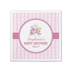 Pink Gingham Floral Baby Shower Standard Cocktail Napkin