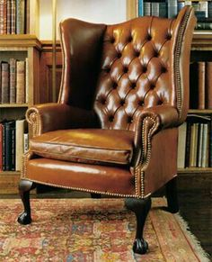 High Back Georgian Wing Chair in Leather with Claw & Ball Legs, Leather Chairs of Bath | Leather Chairs of Bath | Antique and Reproduction Leather Chairs, Sofas and Furniture
