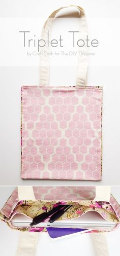 Triplet Tote - Sewing Tutorial for Beginners