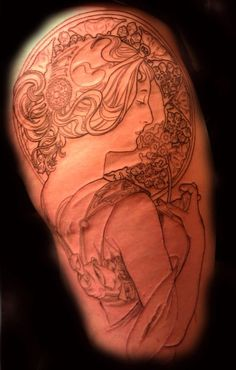 i think a mucha inspired goddess tattoo would be awesome