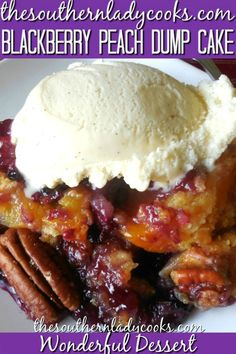 Blackberry peach dump cake is easy and so delicious. This cake is wonderful for any occasion. #blackberries #peaches #cake #dessert #holidays #events #homemade #recipes #baking #food #easyrecipes