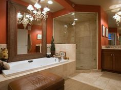 "bathroom - wall color is great w/ cherry cabinets; shower tiles too ""square"""