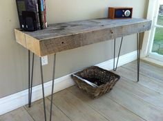 Weathered barnwood sofa table. Modern rustic style featuring hairpin legs. on Etsy, $375.00