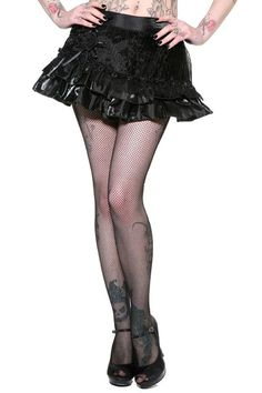 183dc2faa3c LDS Gothic Victorian Vintage Burlesque Steampunk Ruffle Mini Skirt