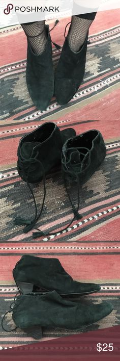 Sexy low-cut ankle boots with lace-up corset backs Black suede (can't tell if it's real or not, but it feels real?) with 1.5 inch heels. Almond toe. Lace-up back with a cord with tassels at the end. A few small scuffs on the heel and the inside isn't in the best condition, but the exteriors look great. Deena & Ozzy Shoes Ankle Boots & Booties