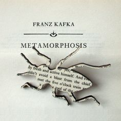 I pinned this just because I liked the Franz Kafka lettering.    Franz Kafka - The Metamorphosis beetle brooch. Classic book brooches made with original pages.. £8.00, via Etsy.