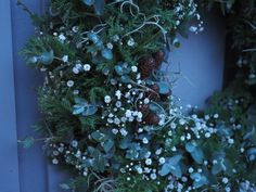 En krans til nyttår i grått, grønt og hvitt Wreaths, Tips, Plants, Door Wreaths, Flora, Deco Mesh Wreaths, Plant, Garlands, Floral Arrangements