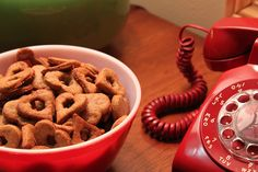 Peanut butter treats and vintage phone