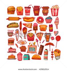 Set with fast food hand drawn vector illustration icons. Fast food restaurant, fast food menu. Hamburger, hot dog, sandwich, snacks, waffles,pizza,french fries,ice cream,donuts,burger,sauce,lollipops. - stock vector