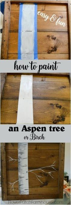 Teds Wood Working How to Paint an Aspen Tree with Chickadee sign painting. Great for rustic pallet signs or DIY decor, crafts of all sorts. Easy beginner lesson. Get A Lifetime Of Project Ideas & Inspiration!