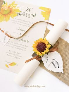 Sunflower Handmade Wedding Scroll - brown
