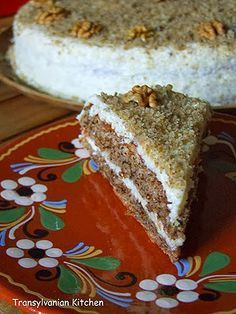 Walnut Cake by Transylvanian Kitchen Romanian Desserts, Russian Desserts, Romanian Food, Romanian Recipes, Cake Recipes, Dessert Recipes, Walnut Cake, Food Cakes, Cakes And More