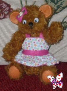 PETUNIA, TEDDY BEAR JOINTED SOFT DOLL, BY MODE'S DOLLYS