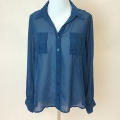 Blue Chiffon Long Sleeve Top Blue Chiffon Long Sleeve Top Tops