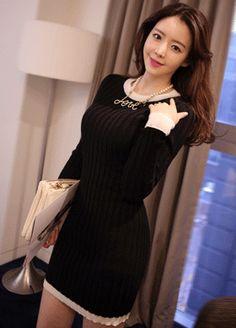 Color Block Trimming Knit Dress  SFSELFAA0012544