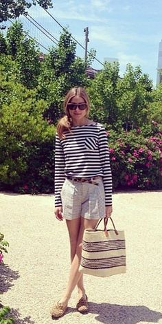 Olivia Palermo knows how to keep it classic and chic. With a striped top and adorable shorts, this girl is always our style icon.
