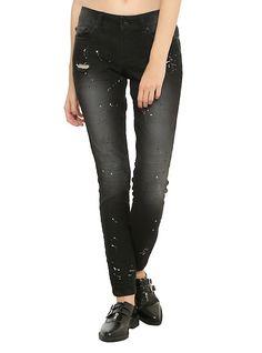 LOVEsick Black Paint Splatter Skinny Jeans,