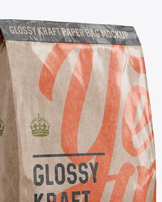 Glossy Kraft Paper Bag Mockup - Halfside View. Preview (Close-Up)