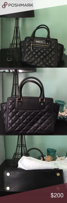 Black Leather Quilt Bag Absolutely gorgeous Quilted Michael Kors bag that's only been used once. Kept in great condition with only a little dent on the bottom left corner of the back that cannot be seen and can be fixed by filling up the bag. Amazing quality and can be used both casually and on formal occasions. Comes with its original Michael Kors dust bag. Please be sure, no returns. Michael Kors Bags Shoulder Bags