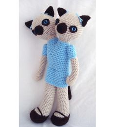 Siamese Cats Siamese Twins Amigurumi Crochet Animal Doll- Custom Made - Etsy (Lazymuse) $75    ok????????
