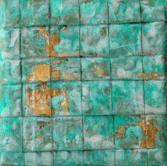 Blattgold Malerei Abstrakte Malerei 10x10x15 cm  von AtelierMaltopf