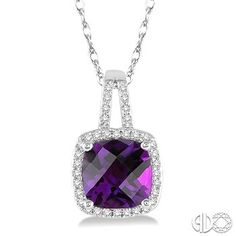 8x8 MM Cushion Cut Amethyst and 1/5 Ctw Round Cut Diamond Pendant in 10K White Gold with Chain