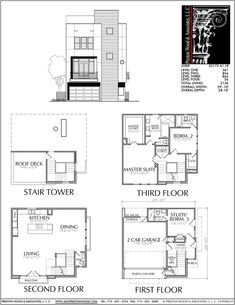 Townhouse Plan E5172 A1.1 Modern Townhouse, Townhouse Designs, Modern Home Interior Design, Modern House Design, Modern House Plans, House Floor Plans, Villas, Tower House, Apartment Plans