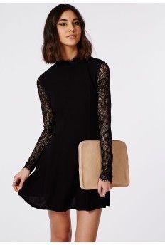Lace Sleeve High Neck Swing Dress Black