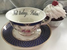 """Lovely blue and gold """"Not Today, Satan"""" teacup and saucer set Vintage Kitchenware, Vintage Plates, Cute Tea Cups, Coffee Set, Ceramic Clay, Tea Cup Saucer, Vinyl, Tea Time, Tea Party"""