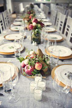 Spring wedding reception table setttings with apple and pear centerpieces Keywords: #weddings #jevelweddingplanning Follow Us: www.jevelweddingplanning.com  www.facebook.com/jevelweddingplanning/