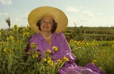Lady Bird Johnson in wildflowers at the LBJ Ranch of the Lyndon B. Johnson National Historical Park.
