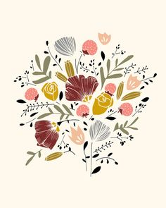 Bloom Art Print by Kelli Murray Illustration Blume, Pattern Illustration, Botanical Illustration, Illustration Inspiration, Keramik Design, Floral Illustrations, Art Inspo, Bunt, Flower Art