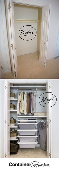 See how one ho-hum closet was transformed by elfa into a dual-purpose space that works for the homeowner and guests. See all the before and after shots on our blog.