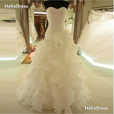 Sweetheart Wedding Dress with Rich Ruffles Chapel Train Bridal Gown Lace-up Bridal Dress Vestido de noiva on Storenvy