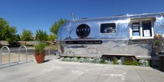 A classic Airstream trailer in its second life as a fresh pastry outlet on the grounds of the Pybus Public Market in Wenatchee, WA