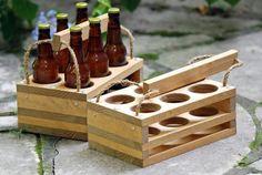 Wood 6-Bottle Beer Carrier Homebrew Gift