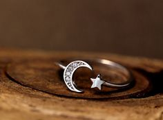 Simple Crescent Moon Star Ring Adjustable Open ring Silver Plated Jewelry gift idea from authfashionEtsy on Etsy. Saved to Things I want as gifts. Moon Jewelry, Cute Jewelry, Jewelry Gifts, Silver Jewelry, Jewelry Accessories, Silver Rings, Jewellery Box, Jewellery Shops, Women's Jewelry