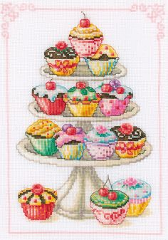 Feast your eyes on this tantalisingly tempting cupcake cross stitch kit, featuring delicious cupcakes piled high on a cupcake stand. Counted Cross Stitch Kits, Cross Stitch Charts, Cross Stitch Embroidery, Embroidery Patterns, Cupcake Cross Stitch, Cross Stitch Flowers, Modern Cross Stitch Patterns, Cross Stitch Designs, Cross Stitch Kitchen